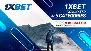 1xBet nominated in 5 categories of the prestigious EGR Operator Awards